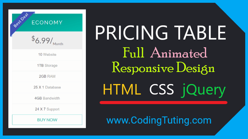 Pricing Table Responsive Design with Animation in HTML CSS and jQuery