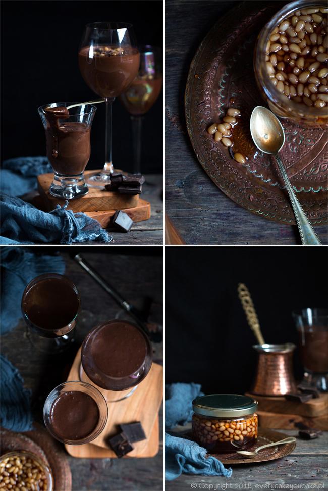 pudding czekoladowo-owsiany z orzeszkami cedrowymi