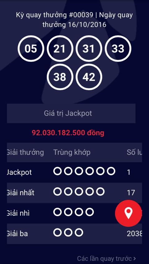 Kết quả xổ số Jackpot ngày 16-10-2016 của Vietlott