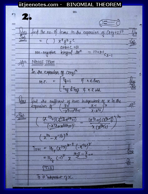 IITJEE Notes on Bimomial Theorem2