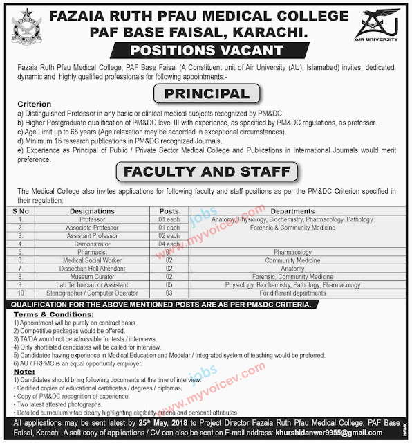 ⇨ #Jobs - #CareerOpportunities at Fazaia Ruth PFAU Medical College, PAF Base Faisal, Karachi - Apply latest by May 25, 2018