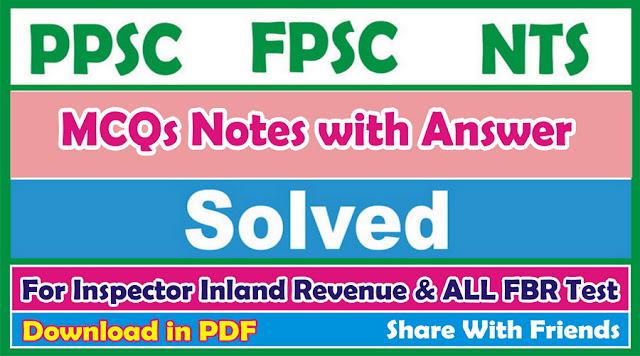 FPSC Inspector Inland Revenues Jobs Test