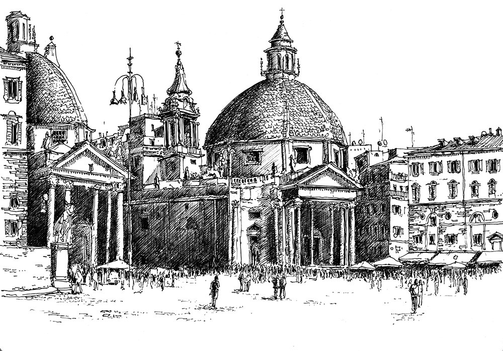12-Piaza-del-Popolo-Rome-Bruno-Mollière-Architectural-Street-Drawings-and-Sketches-www-designstack-co