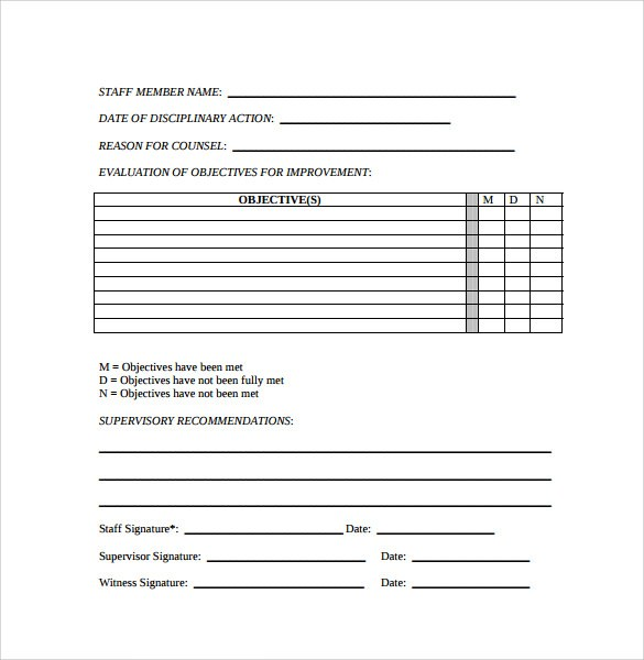 Free Employee Write up Form Printable - Excel Template