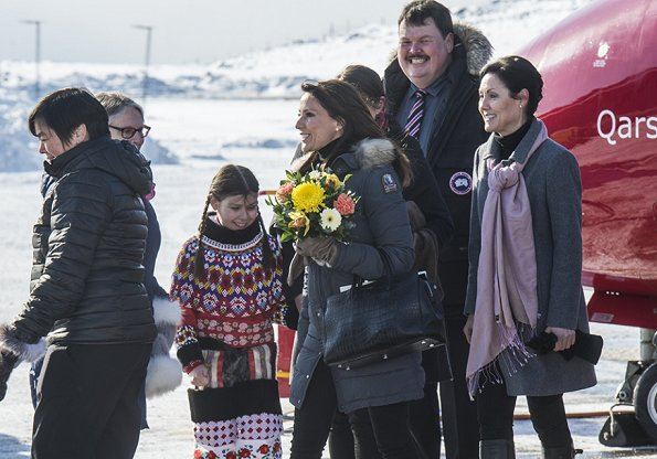 Princess Marie wore Parajumpers fur hood coat. Princess carried Yves Saint Laurent bag. Princess Marie attend autism conference in Nuuk.