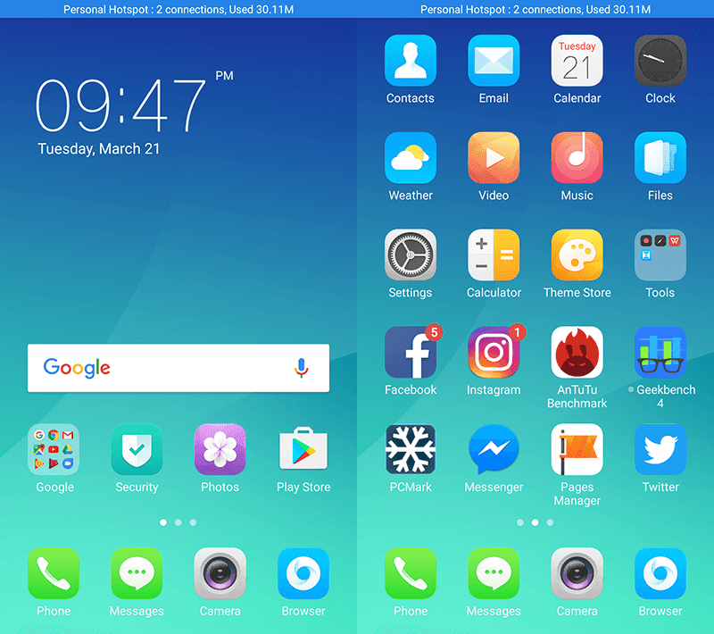 Android 6.0 Marshmallow OS w/ Color OS 3.0 skin