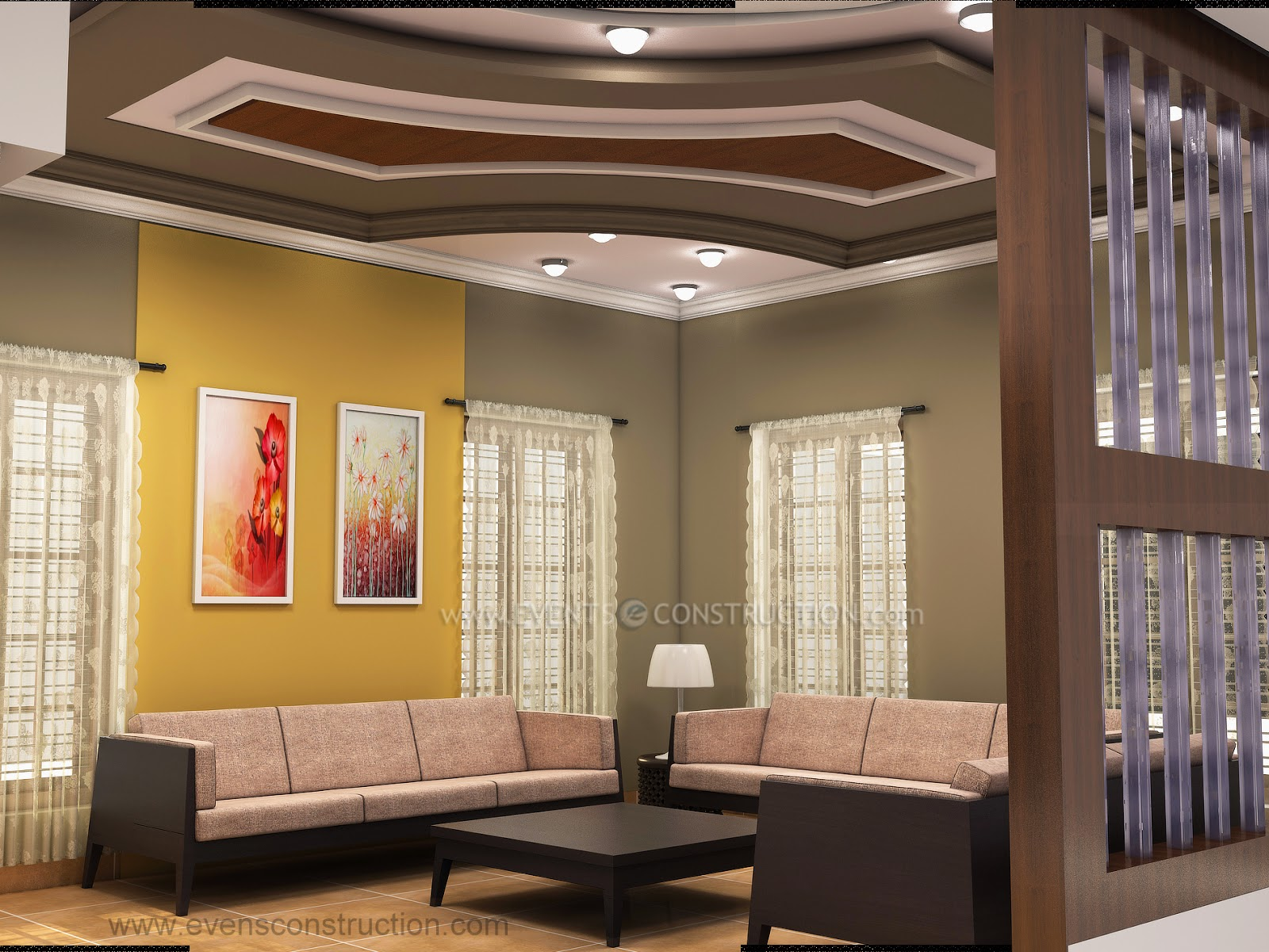 Guest room interior guest living room design for kerala houses with false ceiling