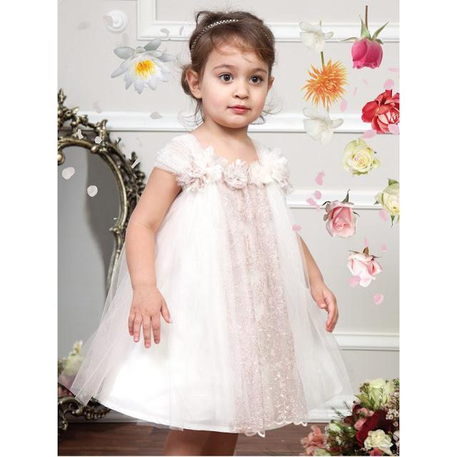 ροζ βαπτιστικό φόρεμα