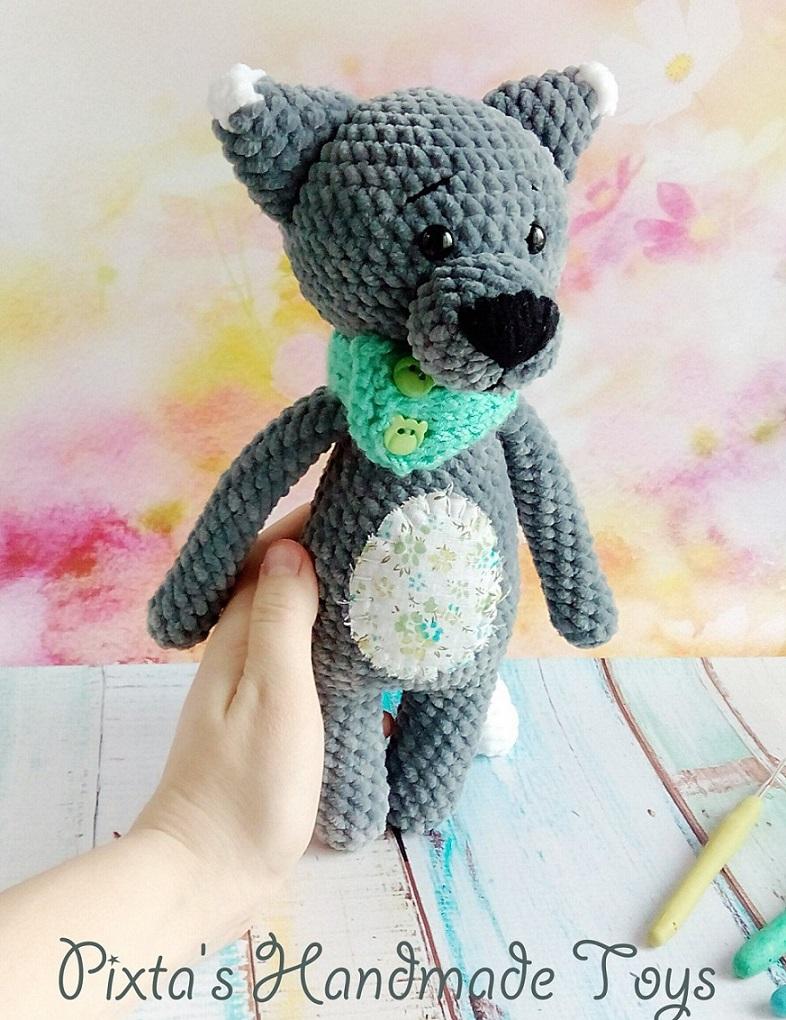 Волк амигуруми вязаная игрушка