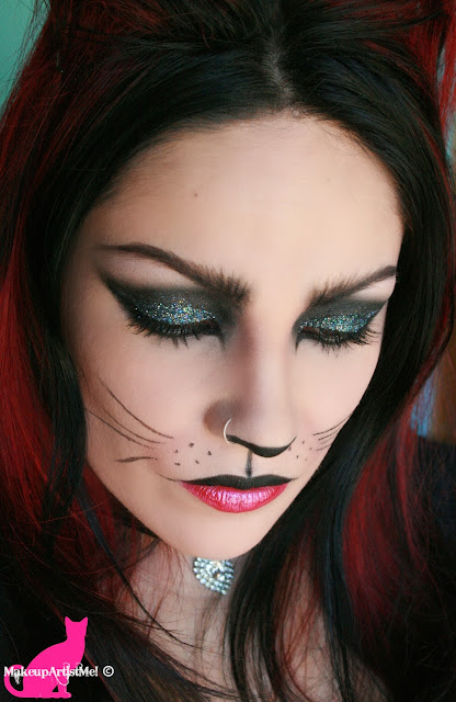 Face makeup for halloween cat