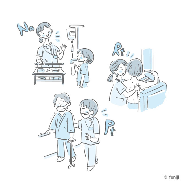 医療従事者の仕事風景カットイラスト