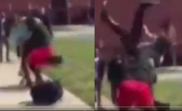 Video shows the disturbing moment a student body slammed another student in a crazy fight that left one with injured spine (Watch)