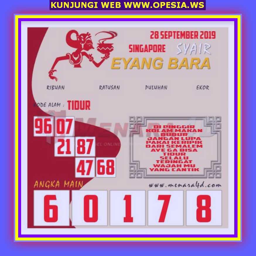 Syair sgp Sabtu 28 September 2019 28