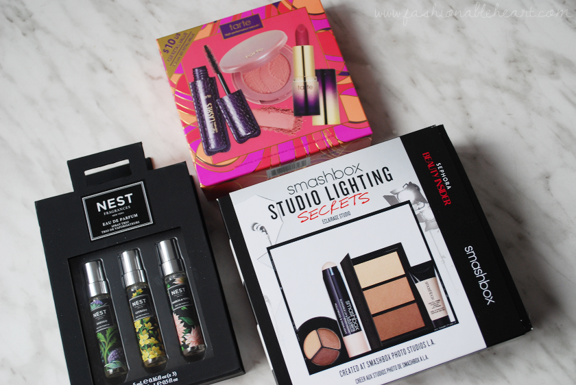 bbloggers, bbloggersca, canadian beauty bloggers, black friday 2016, haul, shopping, sephora canada, shoppers drug mart, nest fragrances, intro to tarte cosmetics, smashbox studio lighting secrets, nivea shower moisturizer, wipes, essie, just stitched nail polish