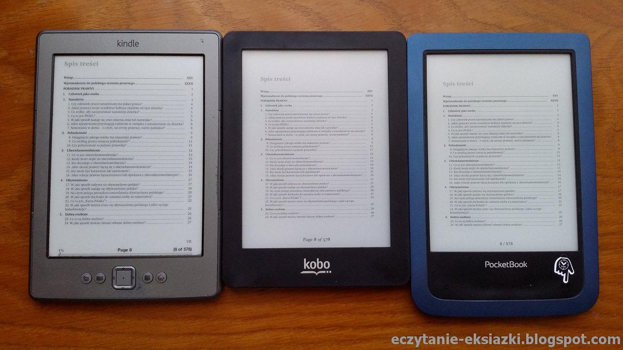 PocketBook Aqua 2 w porównaniu z Kindle Classic i Kobo Glo