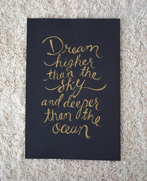 Black and Gold Art, Dream Higher than the Sky and Deeper than the ocean, Baby Room Art Print, Baby Nursery Print, Bridal Shower Art Print, Baby Shower, Mothers Day, Fathers Day, Modern Wall Art,  Printable Quote Art,  Calligraphy Art Print, Home Decor, Wall Decor, Luxury Art Print Gift, High Quality Art Print, Fancy Art Print