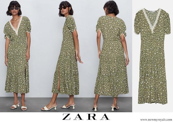 Kate Middleton wore Zara V-neck Printed Midi Dress