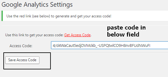 paste the access code in plugin