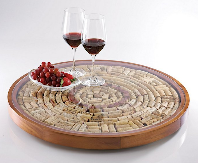 Lazy Susan made with wine corks