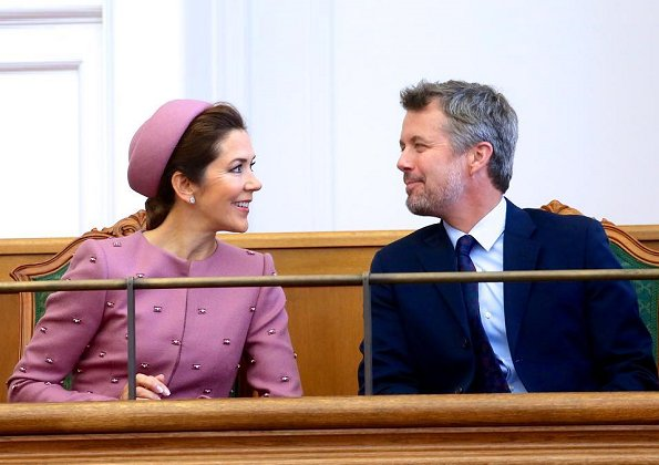 Queen Margrethe, Crown Prince Frederik and Princess Benedikte. Crown Princess Mary wore Claes Iversen coat