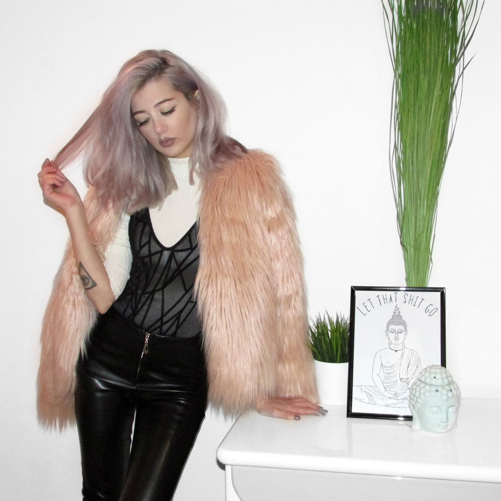 faux fur leather pants outfit
