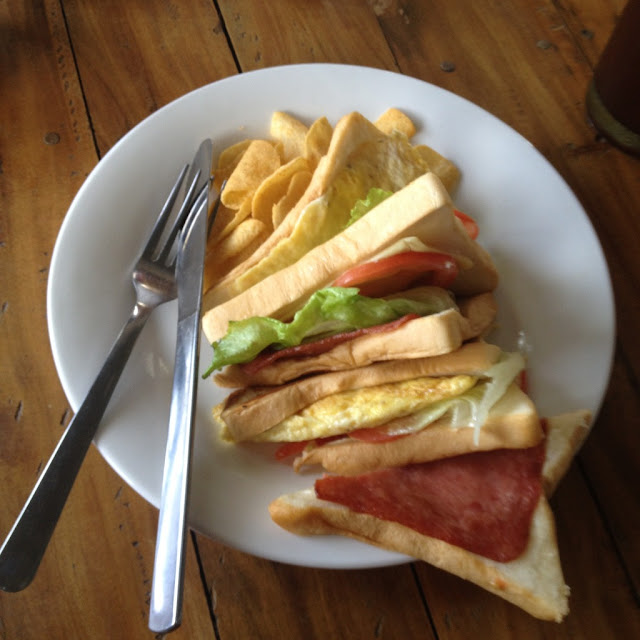 Clubhouse sandwich from Belle's Restaurant at Skip's Beach Resort
