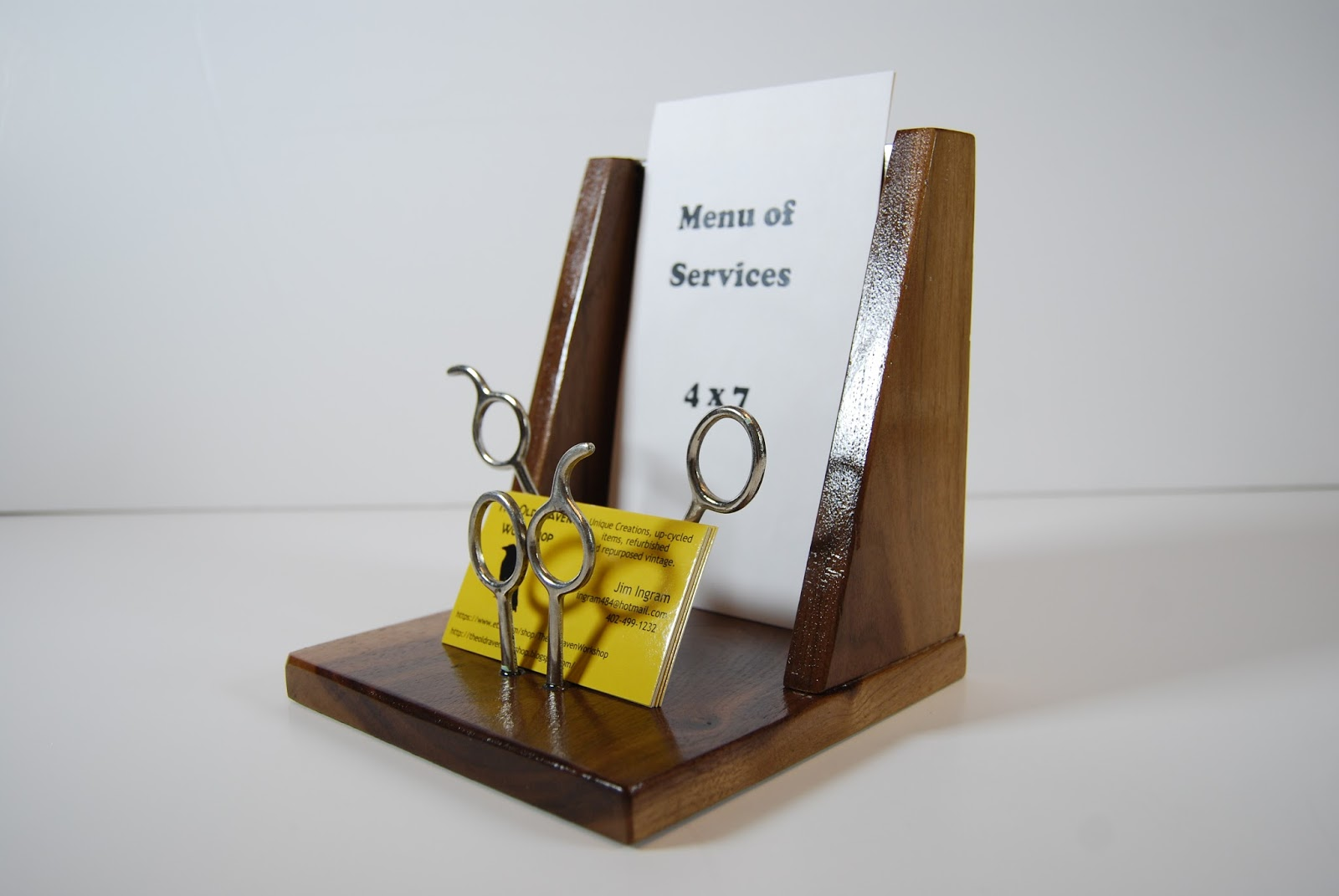 the old raven workshop custom order salon menu and card stand