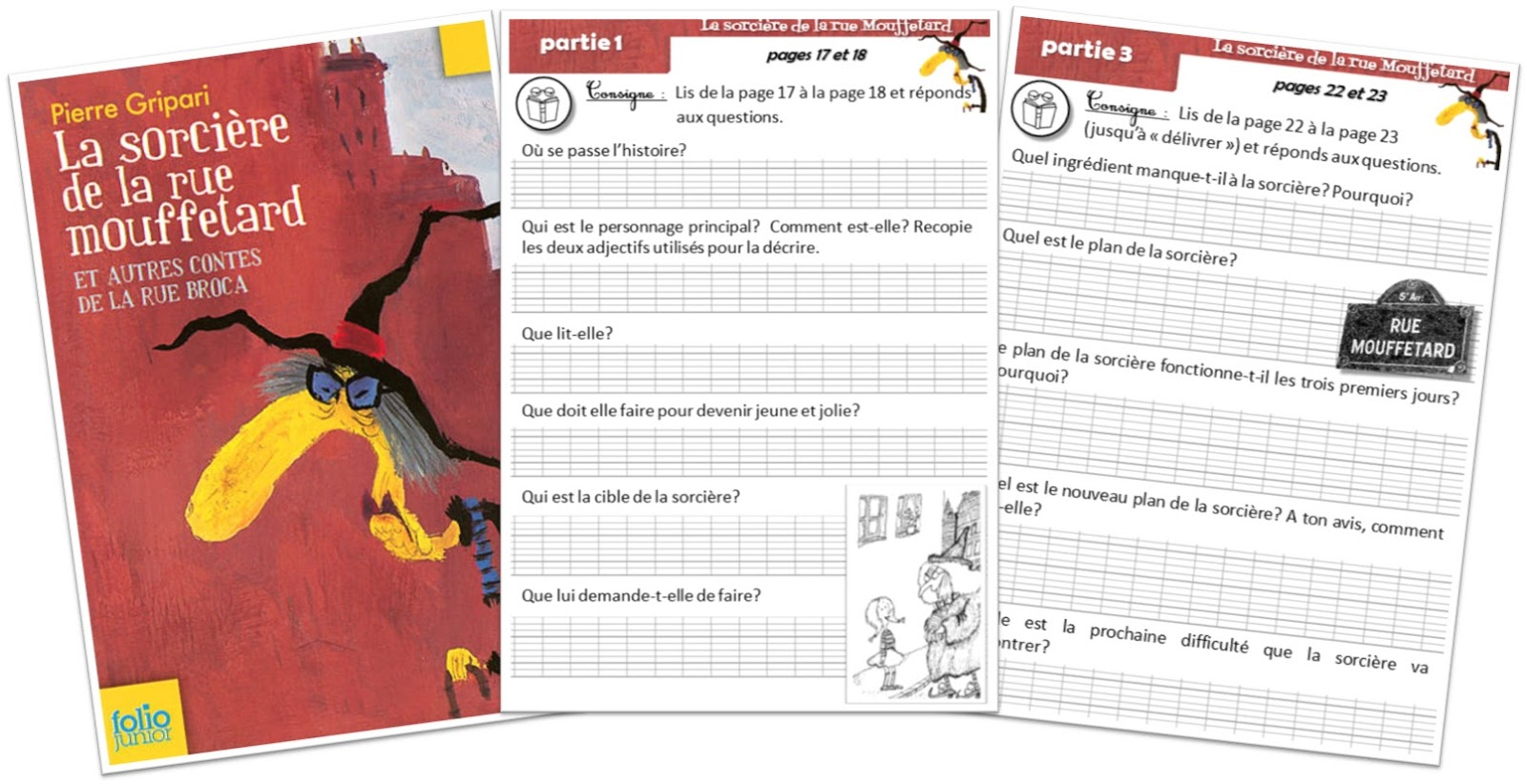 """Les questions sur la nouvelle """"La sorcière de la rue Mouffetard"""" :"""