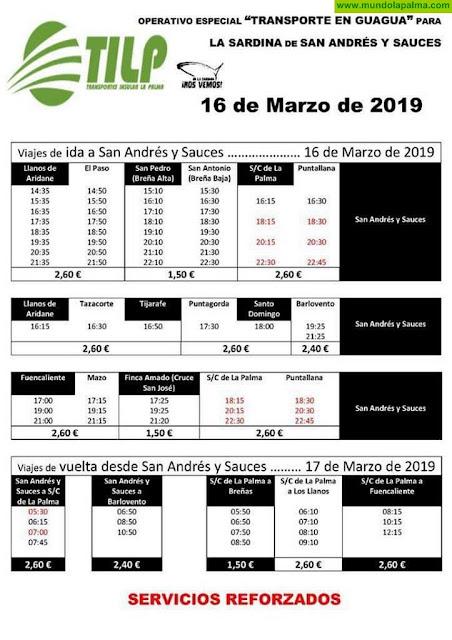 Horarios de Guaguas para La Sardina de Los Sauces 2019