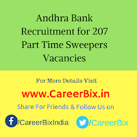 Andhra Bank Recruitment for 207 Part Time Sweepers Vacancies