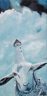 galleri, kunst, maleri, ayoe lise lysgaard pløger, får, fyrtårn, hvide sande, Lyngvig Fyr, himmel, hav