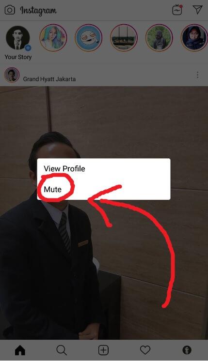 Tekan Mute Instagram
