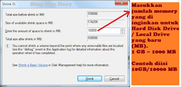 Shrink Hard Disk Drive Masukkan Jumlah Ruang untuk Local Disk Baru Blog Mas Dory