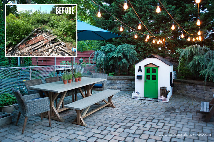 Before and After of Brooklyn LImestone's Small Backyard before - trash and weeds . After - pavers, dining table, playhouse and edison lights