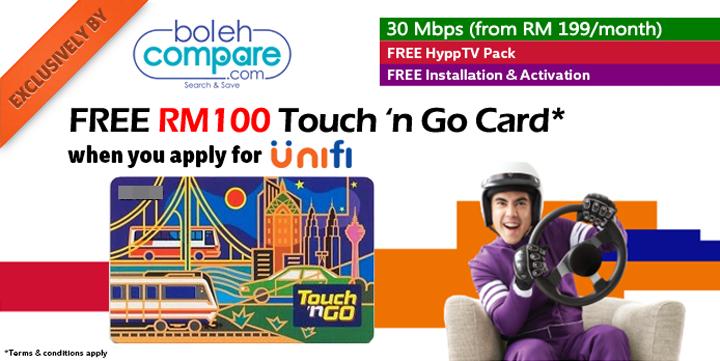 Tawaran Touch n Go RM100 Percuma Daripada BolehCompare