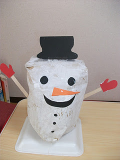 Preschool activities paperbag snowman craft for kids