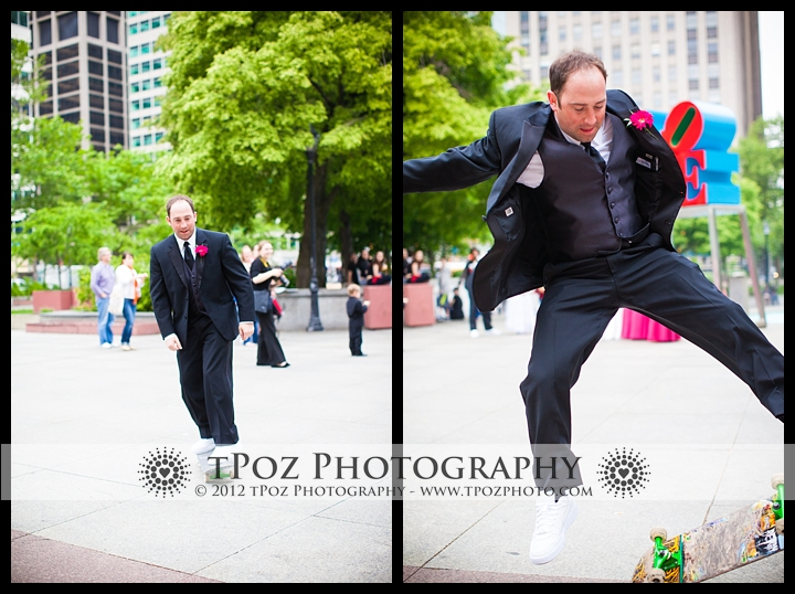 Skateboarding through Love Park Philadelphia wedding photos