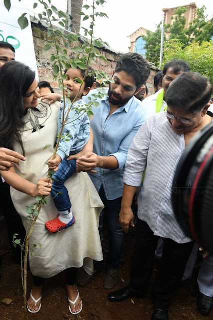 Allu arjun with allu ayaan and wife in haritha haram program full family