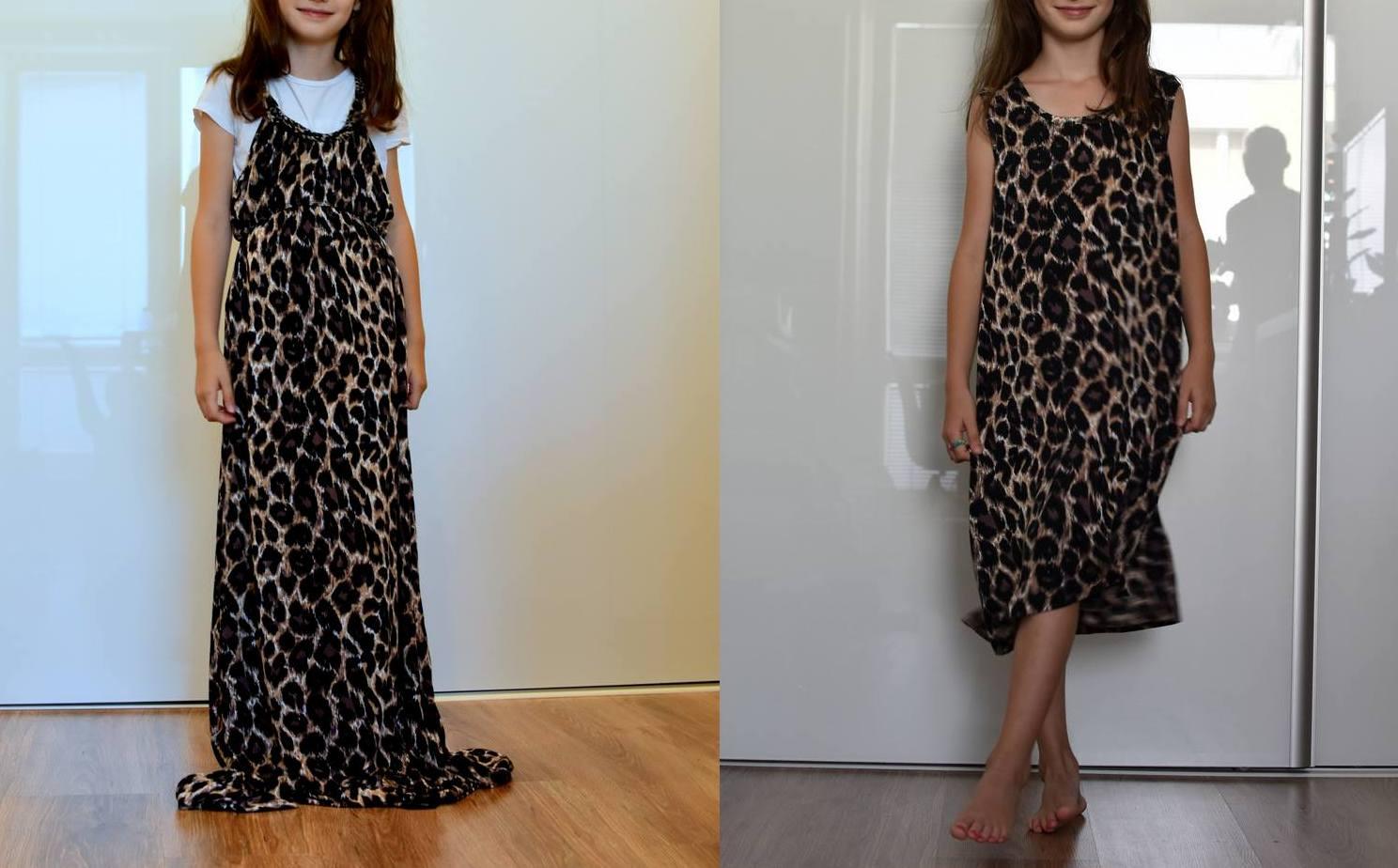 refashion: šaty s leopardím vzorom // zo starých šiat, nový trendy kúsok pre malú slečnu