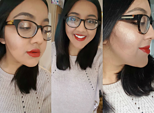 red festive makeup
