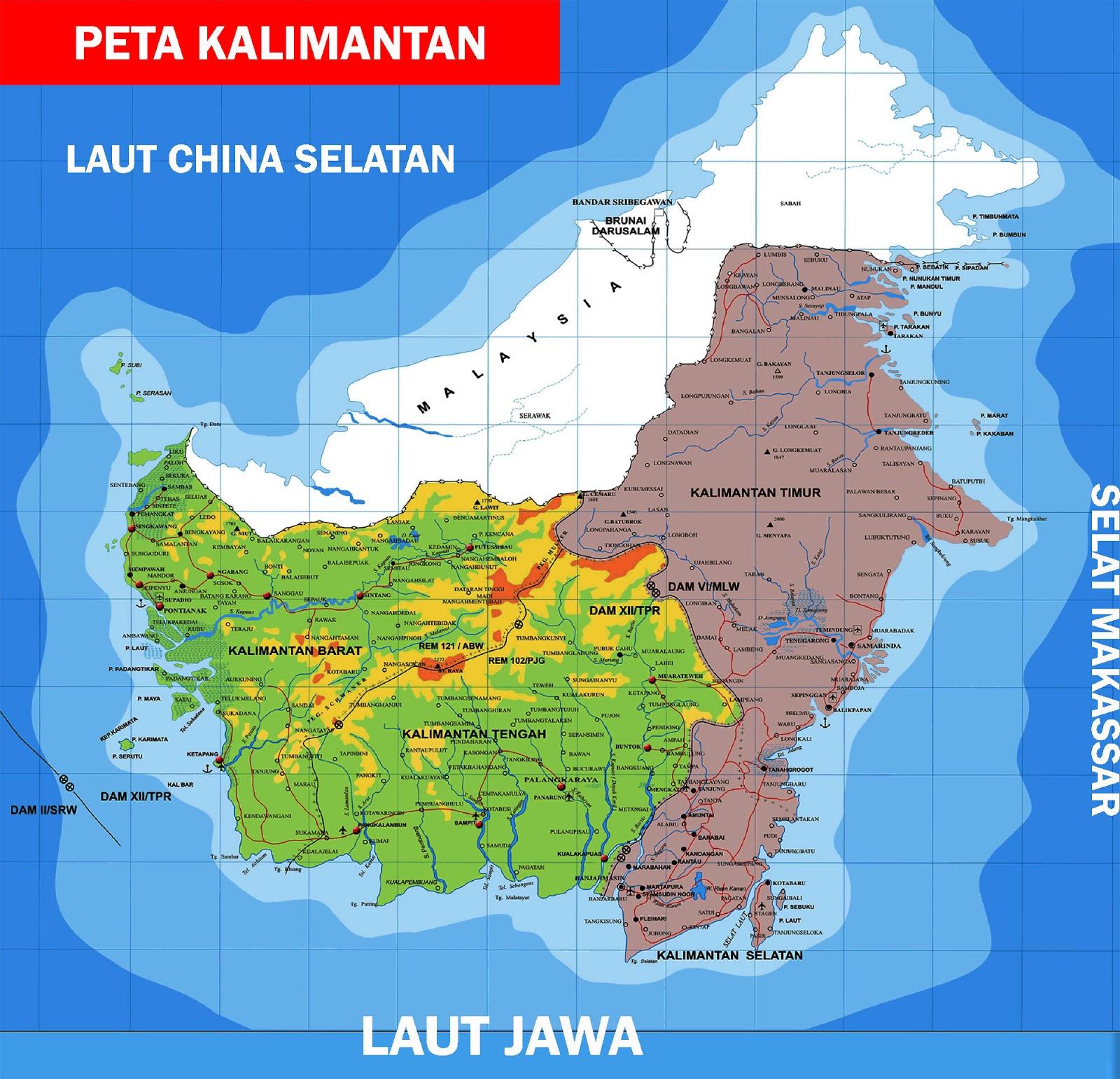 Peta Kalimantan Lengkap 5 Provinsi Sejarah Negara Gambar Sketsa Pulau