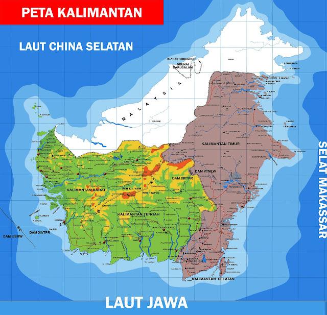 Gambar Peta Kalimantan Lengkap 5 Provinsi