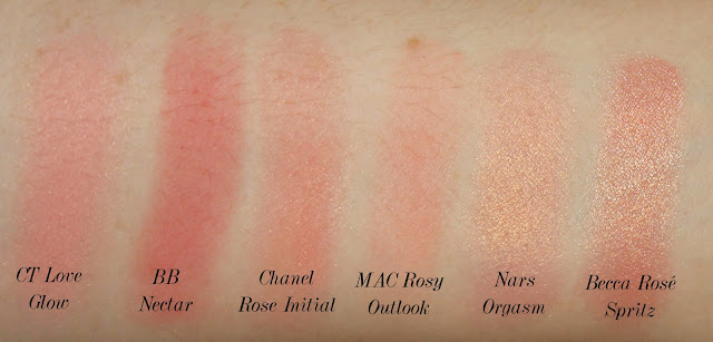 Charlotte Tilbury Cheek to Chic Swish and Pop Blusher in Love Glow comparison swatch