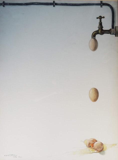 acuarela surrealista isidro ventura huevos