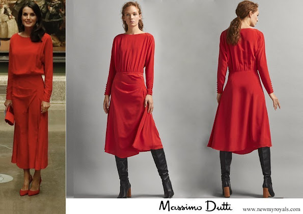 Queen Letizia wore Massimo Dutti Limited edition draped silk dress