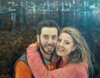 Retrato pareja al óleo pintora Rudi