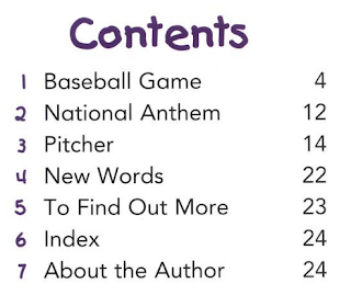 table of contents from LET'S GO TO A BASEBALL GAME  (Welcome Books: Weekend Fun)  by Mary Hill