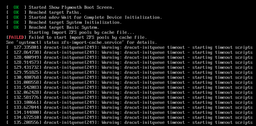 CentOS not booting after 'yum update' (using zfs-kmod