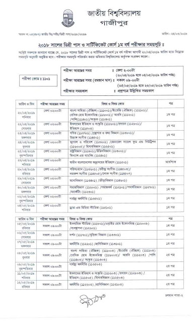 Degree 1st year exam routine 2019