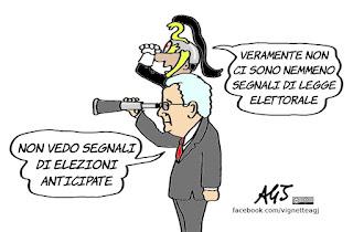 mattarella, elezioni anticipate, legge elettorale, politica, vignetta, satira